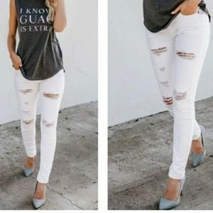 White distressed Kancan jeans! No offers!